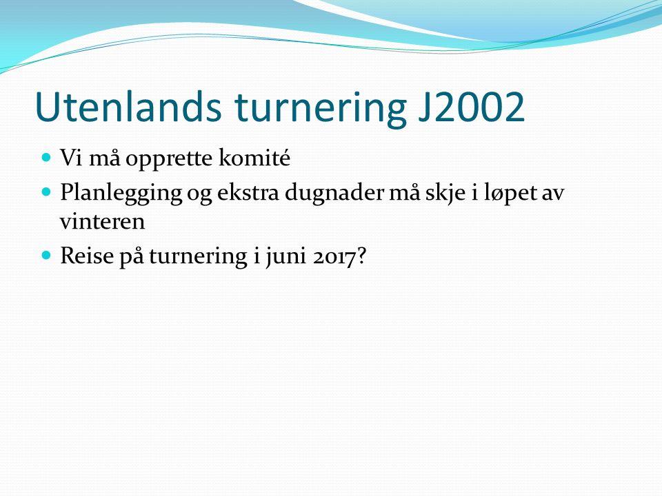 Utenlands turnering J2002 Vi må opprette komité Planlegging og ekstra dugnader må skje i løpet av vinteren Reise på turnering i juni 2017?