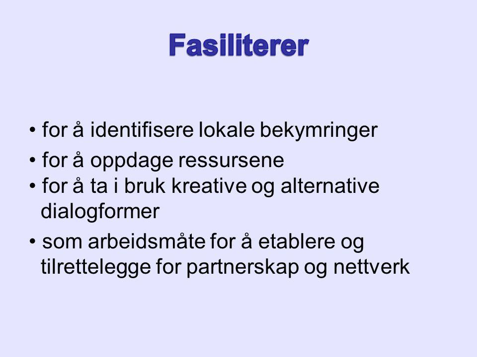 for å identifisere lokale bekymringer for å oppdage ressursene for å ta i bruk kreative og alternative dialogformer som arbeidsmåte for å etablere og tilrettelegge for partnerskap og nettverk