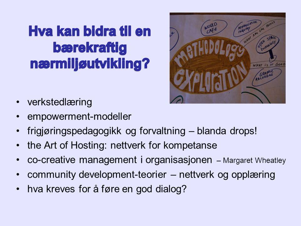 verkstedlæring empowerment-modeller frigjøringspedagogikk og forvaltning – blanda drops! the Art of Hosting: nettverk for kompetanse co-creative manag