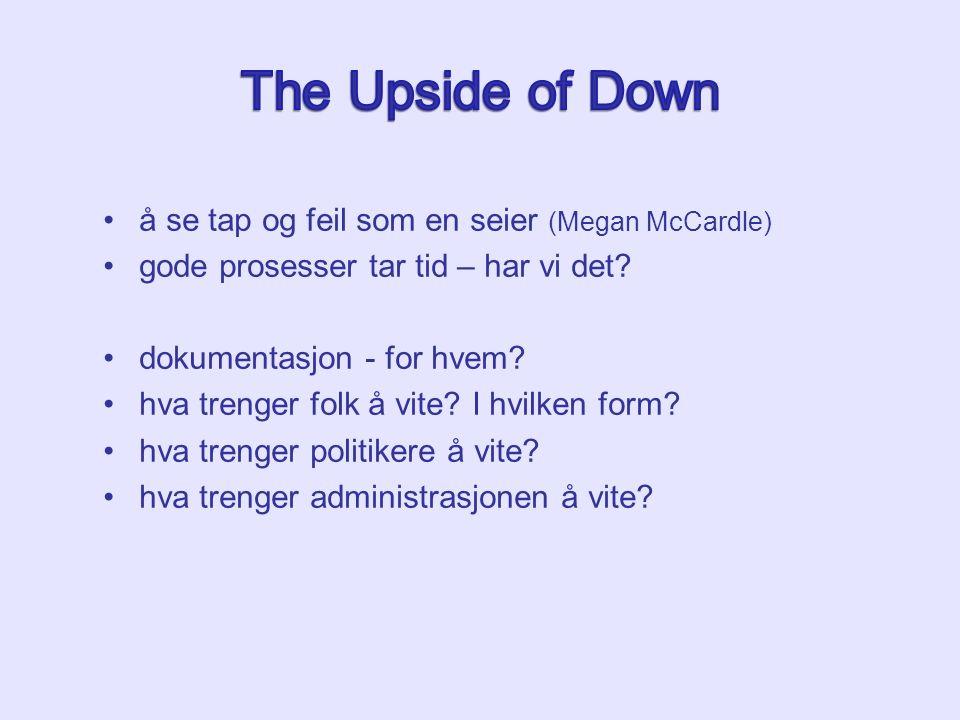 å se tap og feil som en seier (Megan McCardle) gode prosesser tar tid – har vi det? dokumentasjon - for hvem? hva trenger folk å vite? I hvilken form?