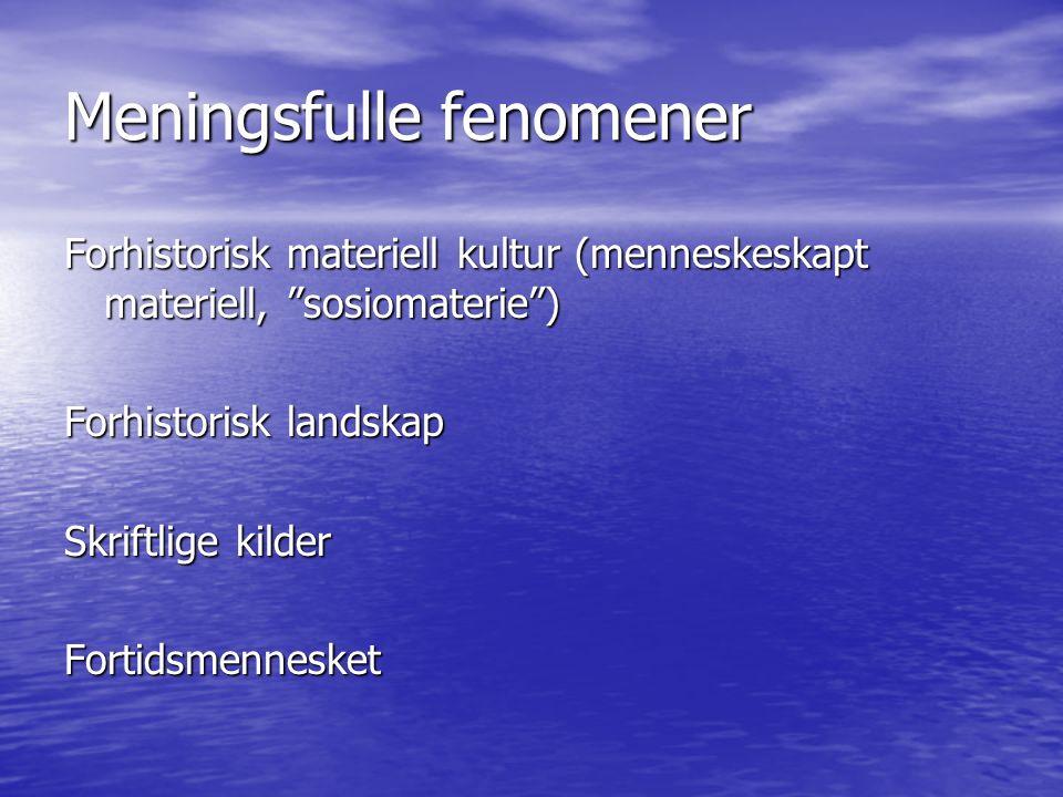 """Forhistorisk materiell kultur (menneskeskapt materiell, """"sosiomaterie"""") Forhistorisk landskap Skriftlige kilder Fortidsmennesket"""