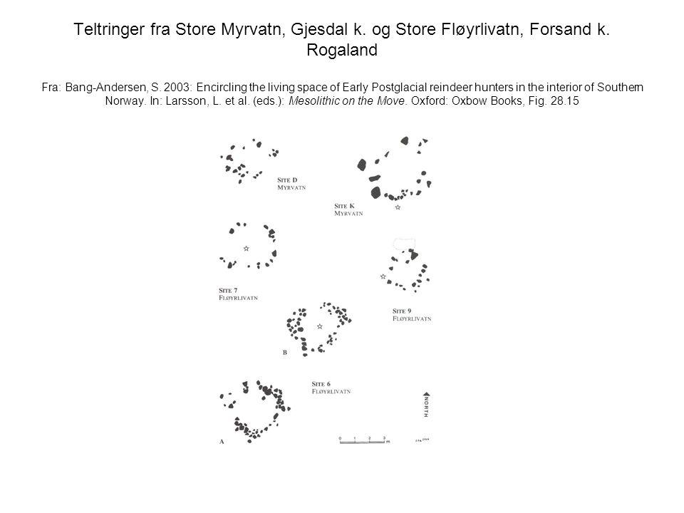 Teltringer fra Store Myrvatn, Gjesdal k. og Store Fløyrlivatn, Forsand k. Rogaland Fra: Bang-Andersen, S. 2003: Encircling the living space of Early P