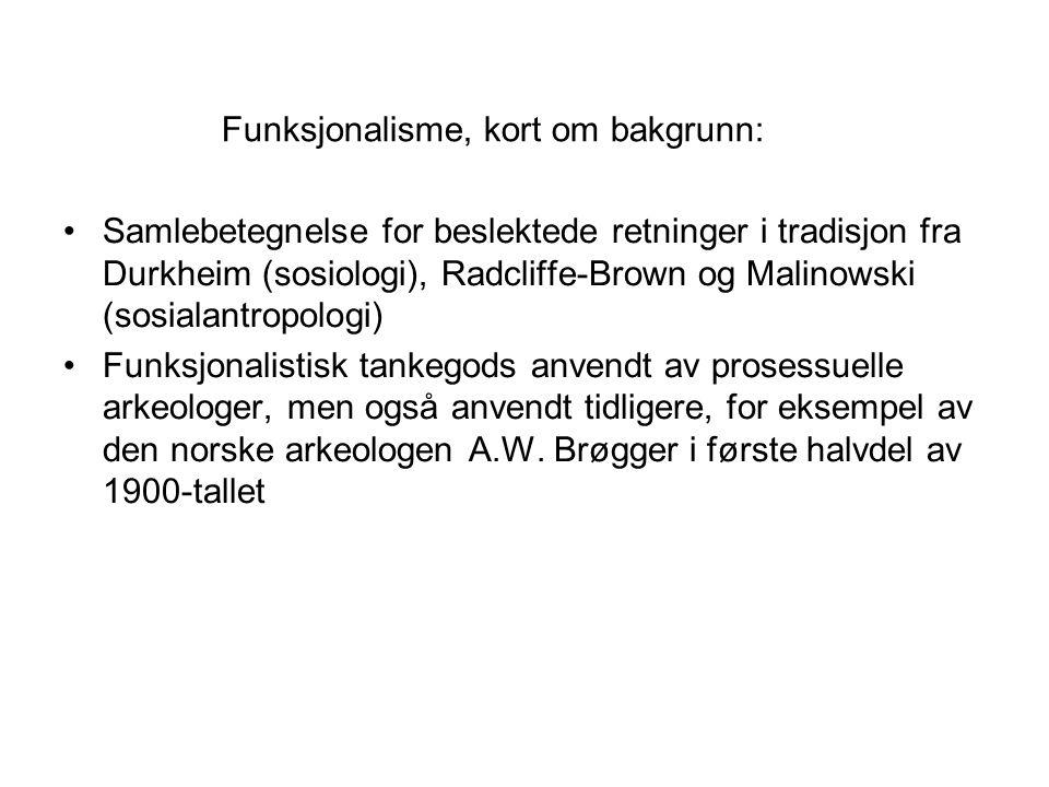 Funksjonalisme, kort om bakgrunn: Samlebetegnelse for beslektede retninger i tradisjon fra Durkheim (sosiologi), Radcliffe-Brown og Malinowski (sosial