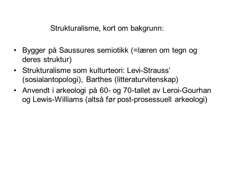 Strukturalisme, kort om bakgrunn: Bygger på Saussures semiotikk (=læren om tegn og deres struktur) Strukturalisme som kulturteori: Levi-Strauss' (sosi