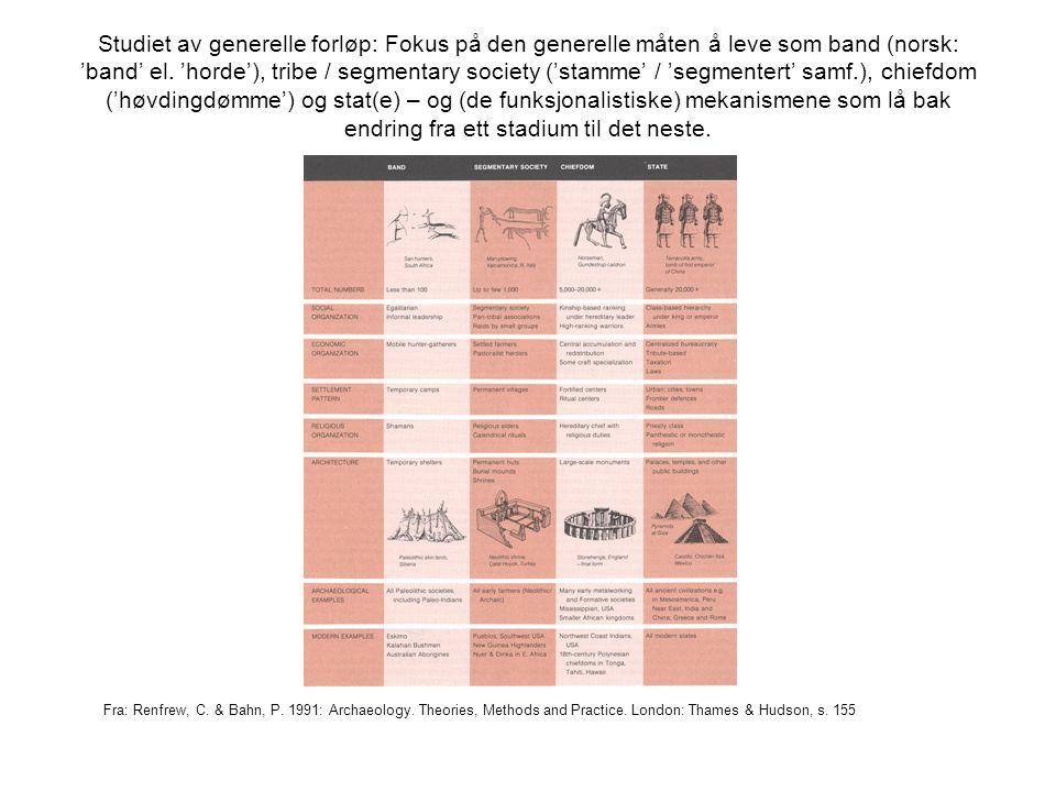 Studiet av generelle forløp: Fokus på den generelle måten å leve som band (norsk: 'band' el. 'horde'), tribe / segmentary society ('stamme' / 'segment