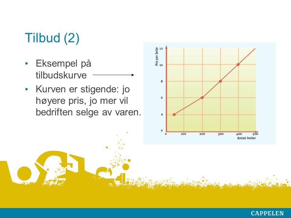 Tilbud (2) Eksempel på tilbudskurve Kurven er stigende: jo høyere pris, jo mer vil bedriften selge av varen.