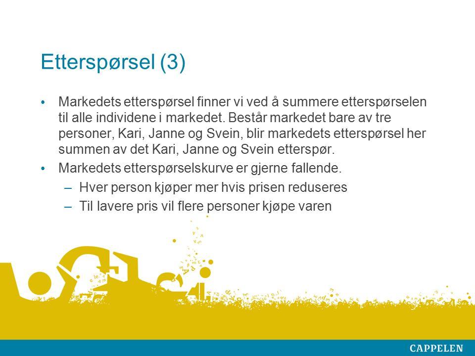 Etterspørsel (3) Markedets etterspørsel finner vi ved å summere etterspørselen til alle individene i markedet. Består markedet bare av tre personer, K