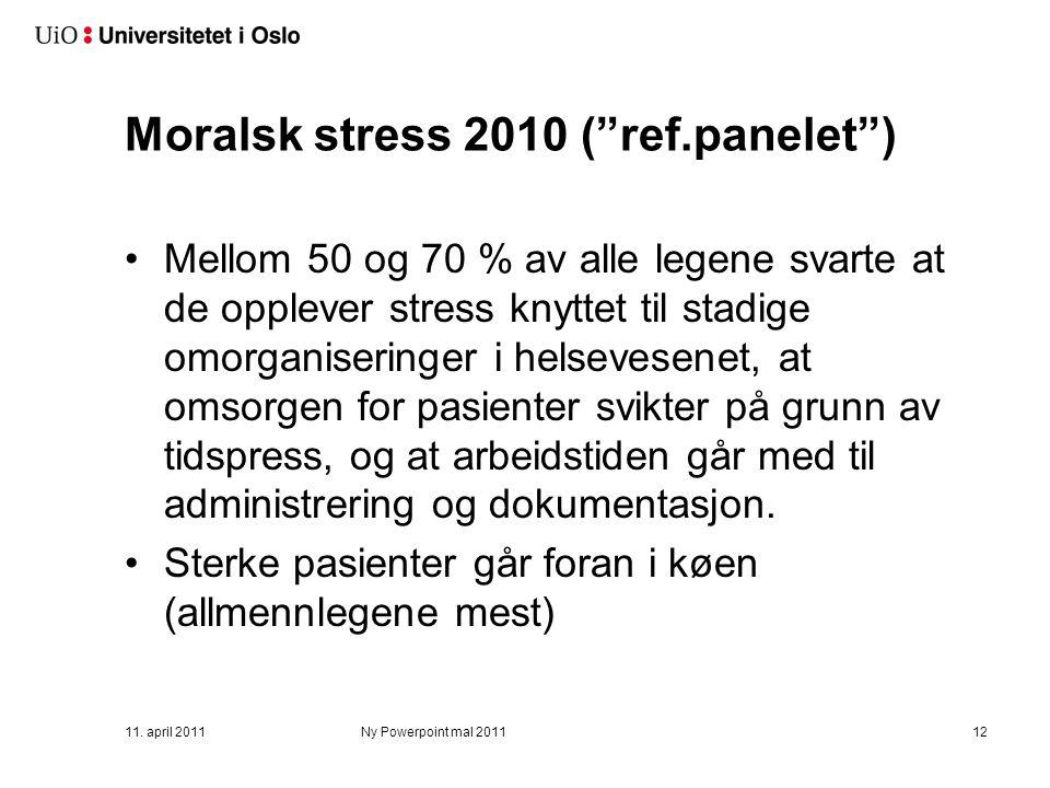Moralsk stress 2010 ( ref.panelet ) Mellom 50 og 70 % av alle legene svarte at de opplever stress knyttet til stadige omorganiseringer i helsevesenet, at omsorgen for pasienter svikter på grunn av tidspress, og at arbeidstiden går med til administrering og dokumentasjon.