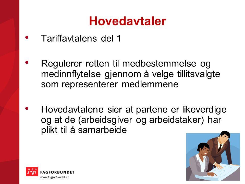 Hovedavtaler Tariffavtalens del 1 Regulerer retten til medbestemmelse og medinnflytelse gjennom å velge tillitsvalgte som representerer medlemmene Hovedavtalene sier at partene er likeverdige og at de (arbeidsgiver og arbeidstaker) har plikt til å samarbeide