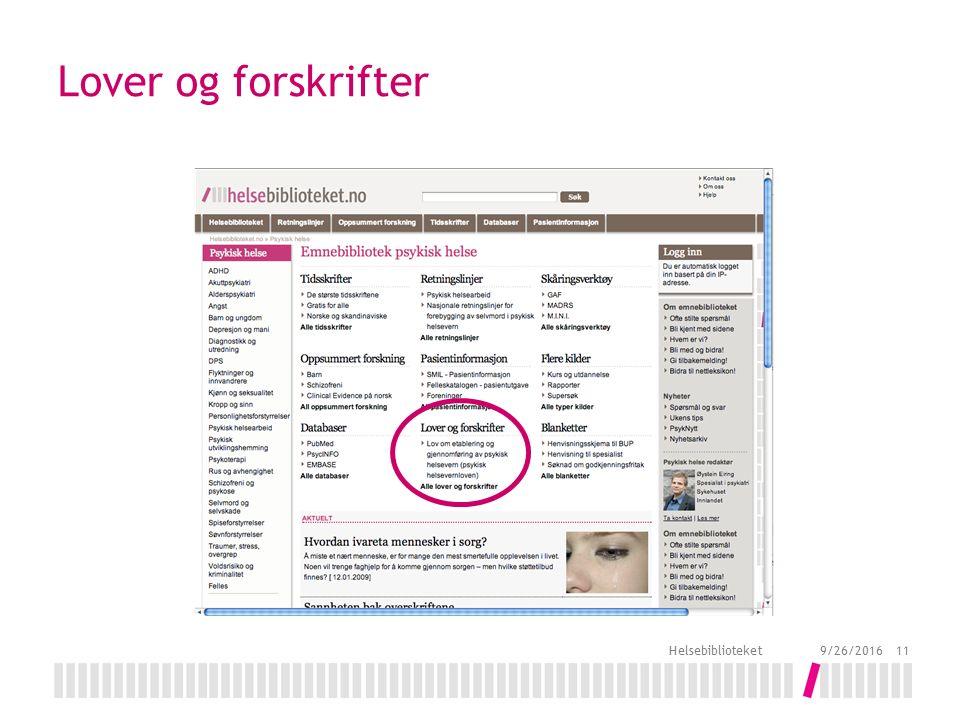 Lover og forskrifter 9/26/2016 Helsebiblioteket 11