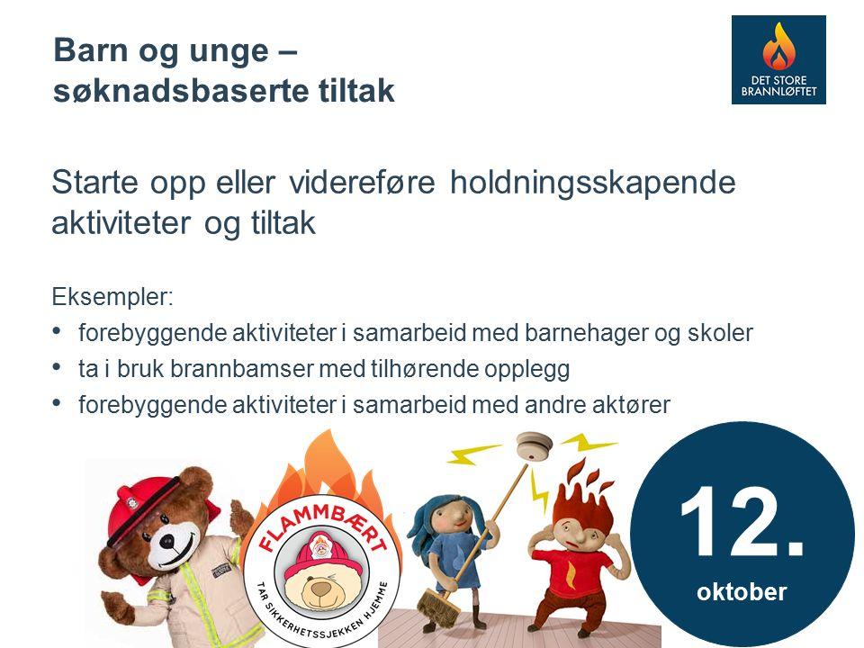 8 Starte opp eller videreføre holdningsskapende aktiviteter og tiltak Eksempler: forebyggende aktiviteter i samarbeid med barnehager og skoler ta i bruk brannbamser med tilhørende opplegg forebyggende aktiviteter i samarbeid med andre aktører Barn og unge – søknadsbaserte tiltak 12.