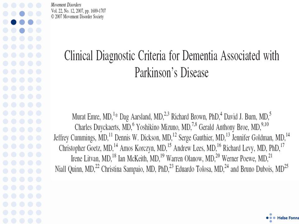 PDD Kjernesymptomer; PD + Demens Kognitive symptomer; Oppmerksomhet, eksekutive, viseuspatiale, språk og hukommelse.