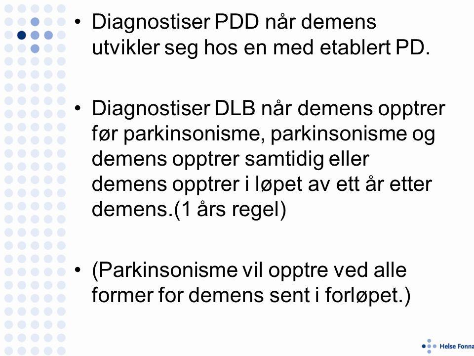 Diagnostiser PDD når demens utvikler seg hos en med etablert PD.