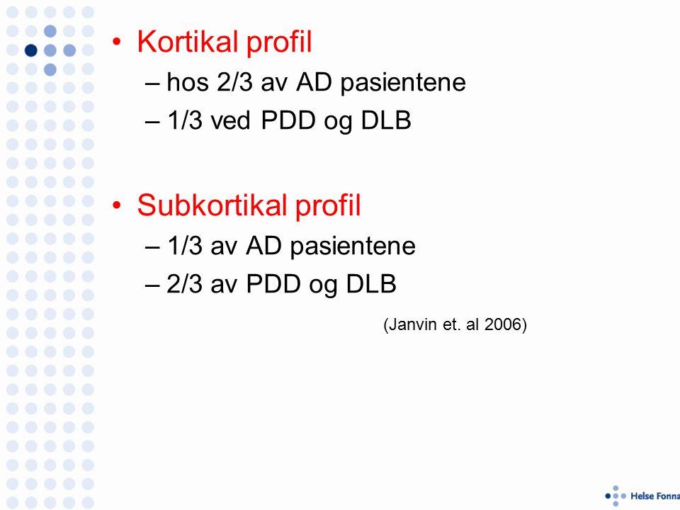 Kortikal profil –hos 2/3 av AD pasientene –1/3 ved PDD og DLB Subkortikal profil –1/3 av AD pasientene –2/3 av PDD og DLB (Janvin et.