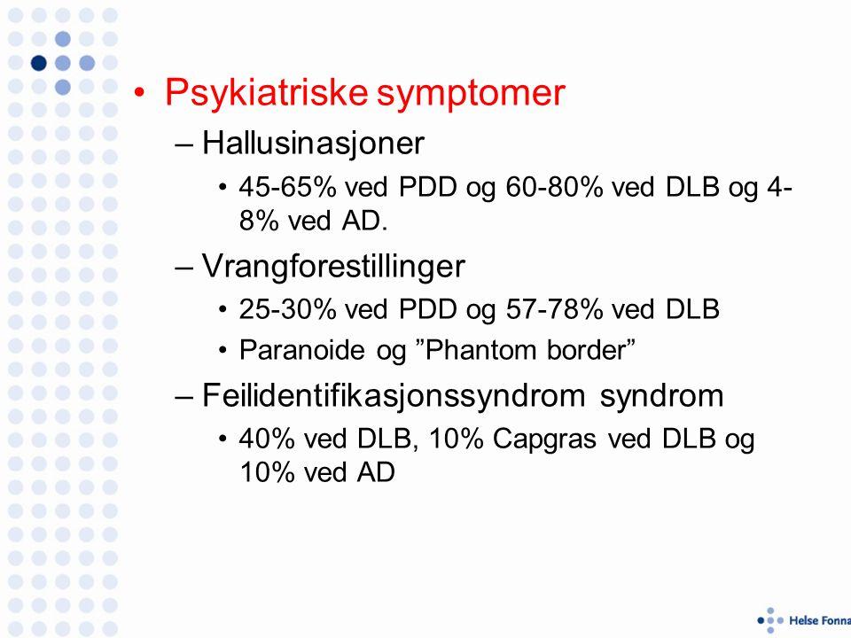 Psykiatriske symptomer –Hallusinasjoner 45-65% ved PDD og 60-80% ved DLB og 4- 8% ved AD.