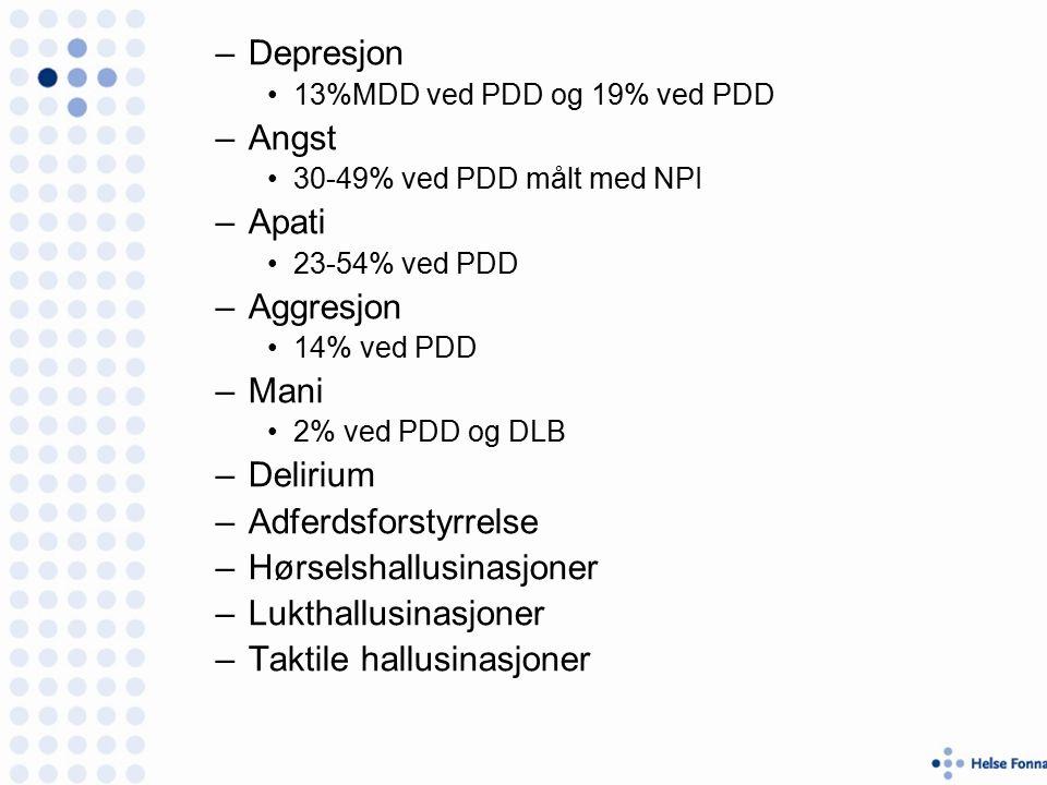 –Depresjon 13%MDD ved PDD og 19% ved PDD –Angst 30-49% ved PDD målt med NPI –Apati 23-54% ved PDD –Aggresjon 14% ved PDD –Mani 2% ved PDD og DLB –Delirium –Adferdsforstyrrelse –Hørselshallusinasjoner –Lukthallusinasjoner –Taktile hallusinasjoner