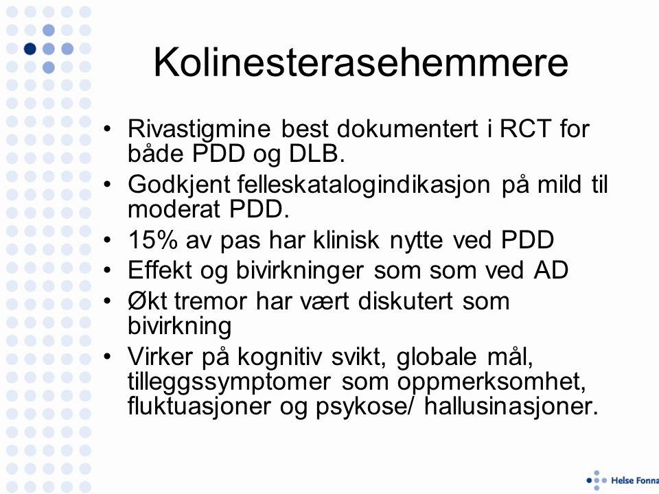 Kolinesterasehemmere Rivastigmine best dokumentert i RCT for både PDD og DLB.