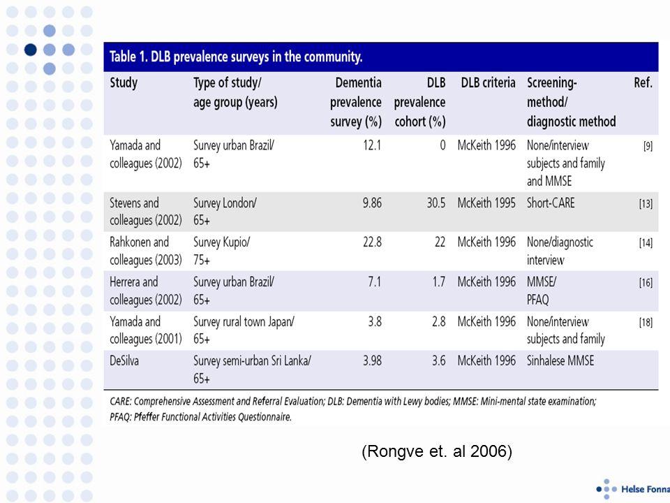 (Rongve et. al 2006)
