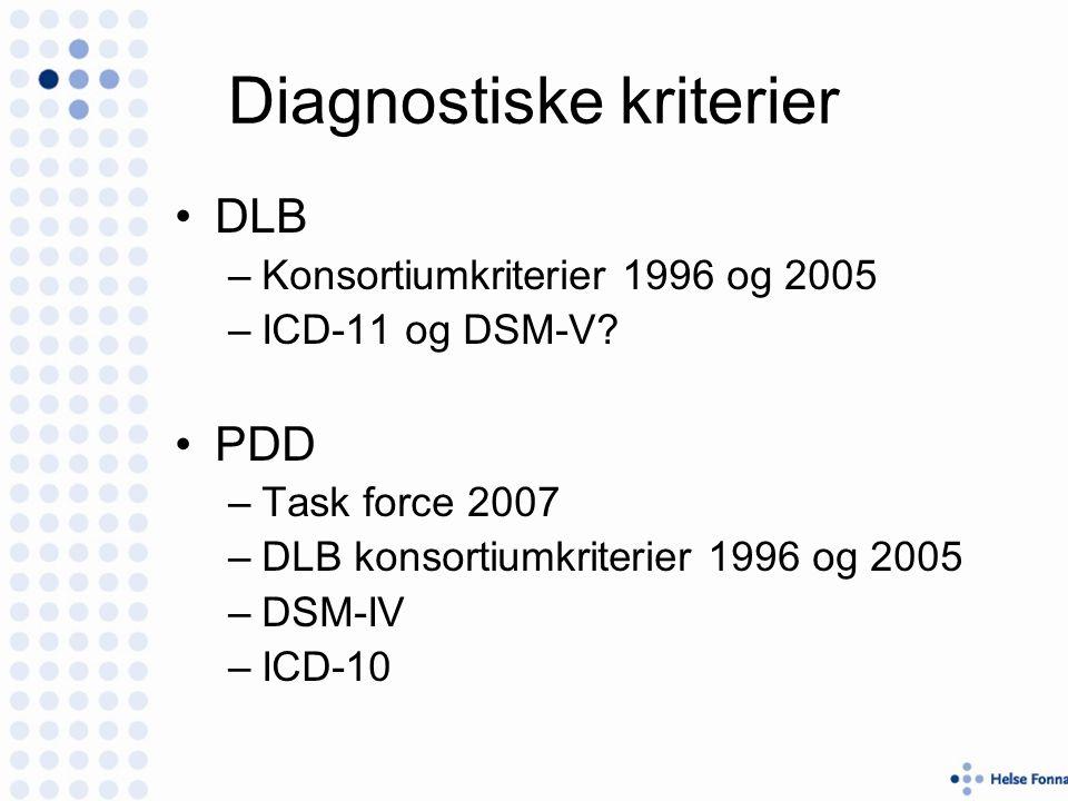 Diagnostiske kriterier DLB –Konsortiumkriterier 1996 og 2005 –ICD-11 og DSM-V.