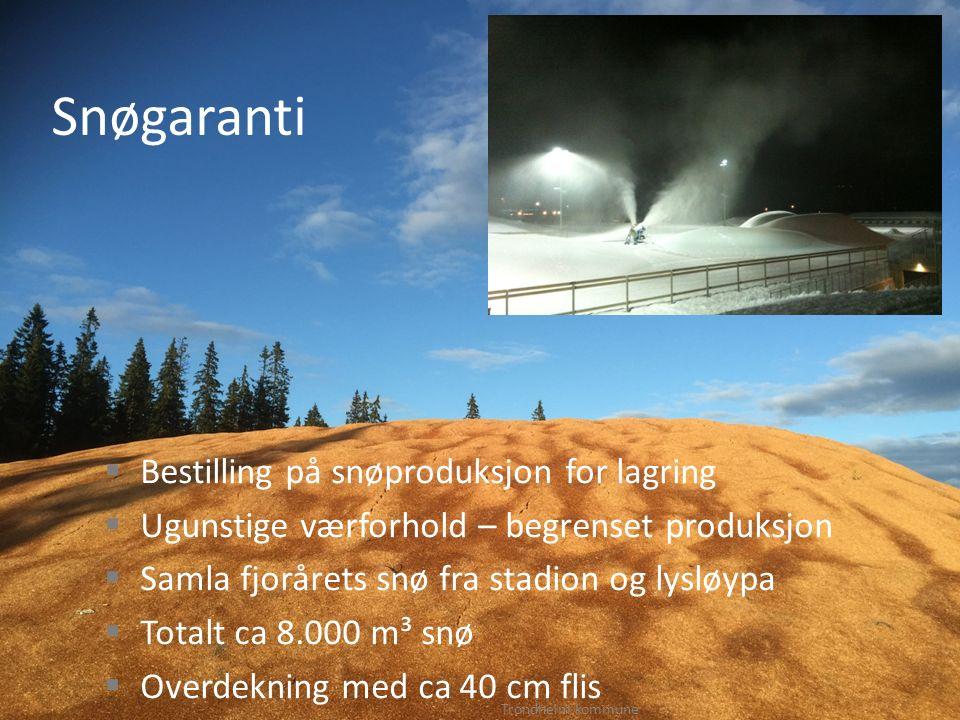 Snøgaranti  Bestilling på snøproduksjon for lagring  Ugunstige værforhold – begrenset produksjon  Samla fjorårets snø fra stadion og lysløypa  Tot