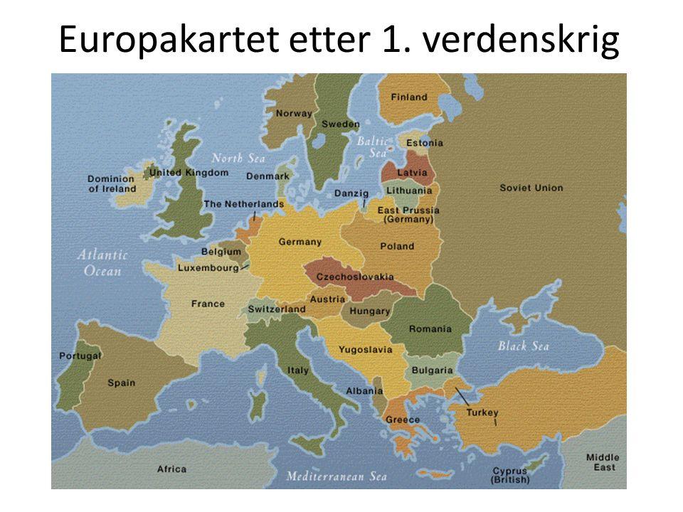 Europakartet etter 1. verdenskrig