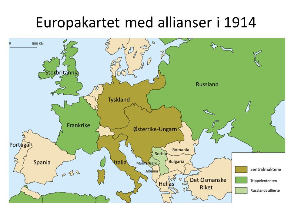 Europakartet med allianser i 1914