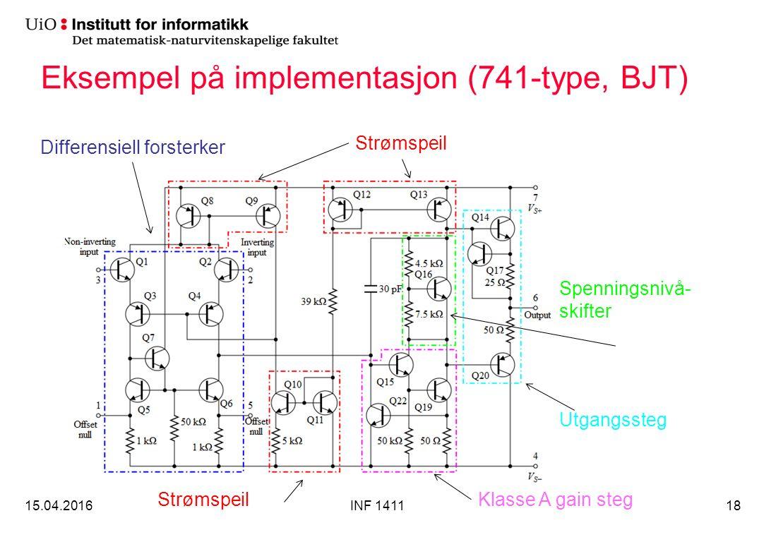 Eksempel på implementasjon (741-type, BJT) 15.04.2016INF 141118 Strømspeil Differensiell forsterker Klasse A gain steg Spenningsnivå- skifter Utgangssteg Strømspeil