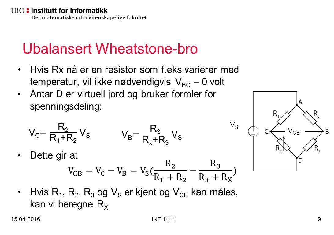 Ubalansert Wheatstone-bro Hvis Rx nå er en resistor som f.eks varierer med temperatur, vil ikke nødvendigvis V BC = 0 volt Antar D er virtuell jord og bruker formler for spenningsdeling: Dette gir at Hvis R 1, R 2, R 3 og V S er kjent og V CB kan måles, kan vi beregne R X 15.04.2016INF 14119 VSVS V CB