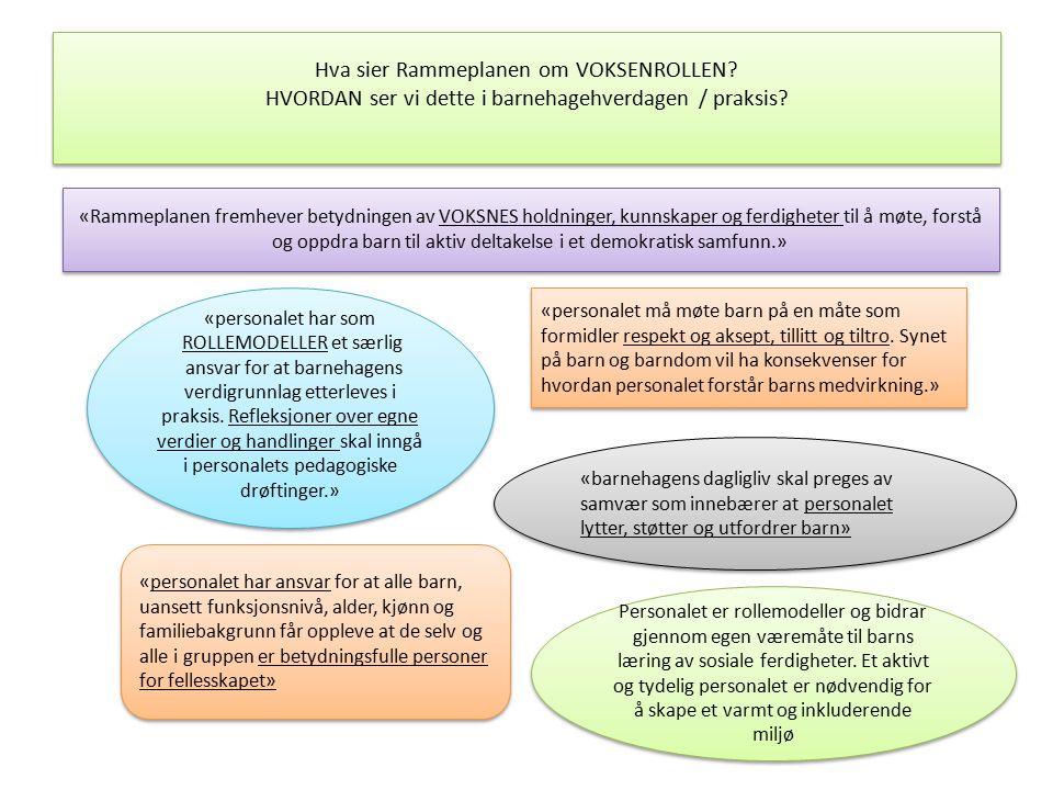 Hva sier Rammeplanen om VOKSENROLLEN? HVORDAN ser vi dette i barnehagehverdagen / praksis? «Rammeplanen fremhever betydningen av VOKSNES holdninger, k