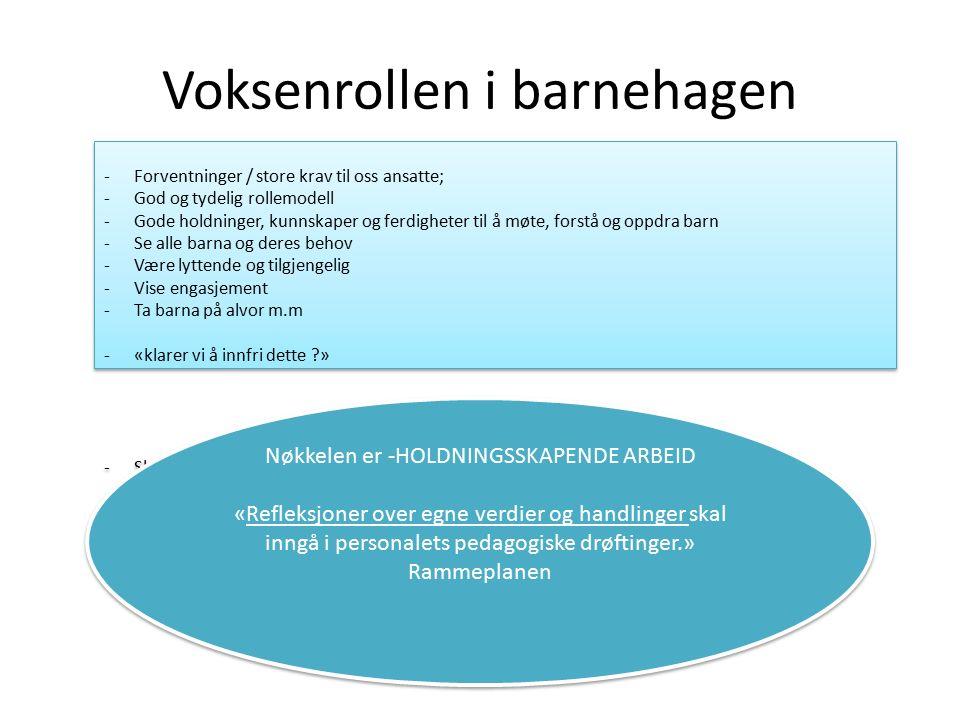 Voksenrollen i barnehagen -Forventninger / store krav til oss ansatte; -God og tydelig rollemodell -Gode holdninger, kunnskaper og ferdigheter til å m