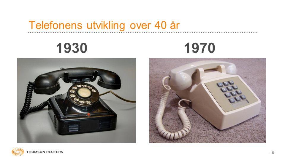 Telefonens utvikling over 40 år 16 1930 1970