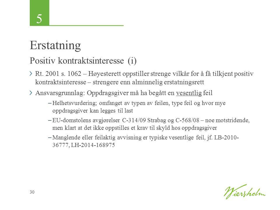5 30 Erstatning Positiv kontraktsinteresse (i) Rt. 2001 s. 1062 – Høyesterett oppstiller strenge vilkår for å få tilkjent positiv kontraktsinteresse –