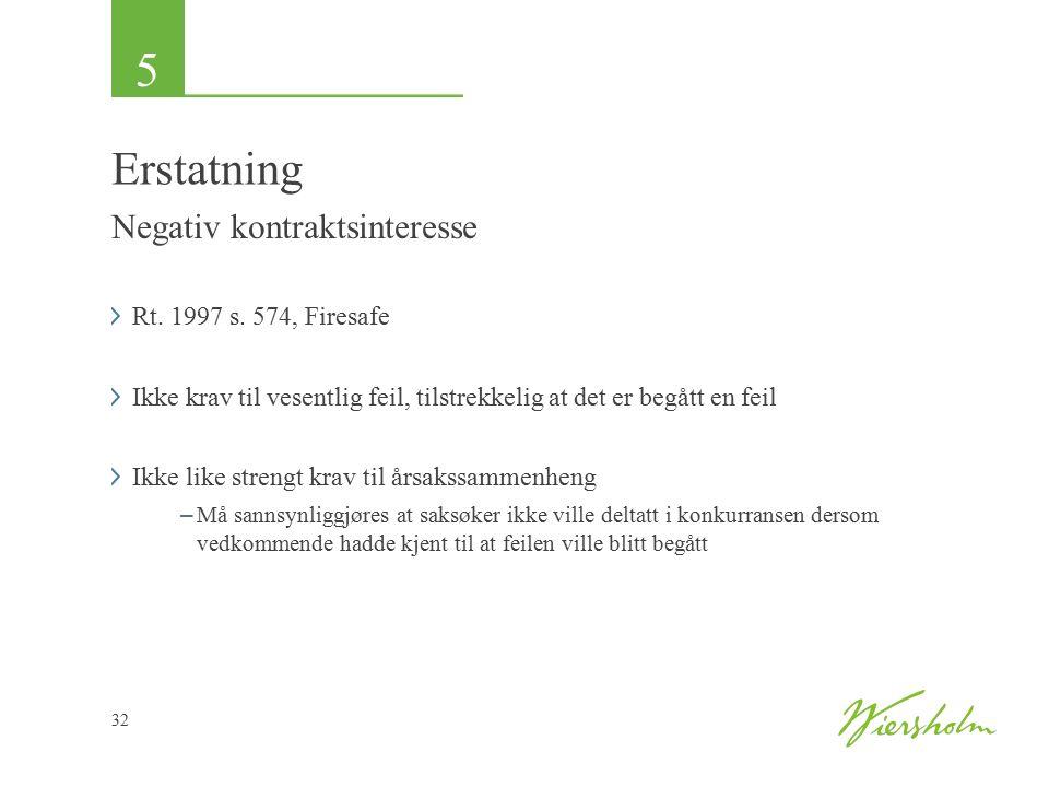 5 32 Erstatning Negativ kontraktsinteresse Rt. 1997 s.
