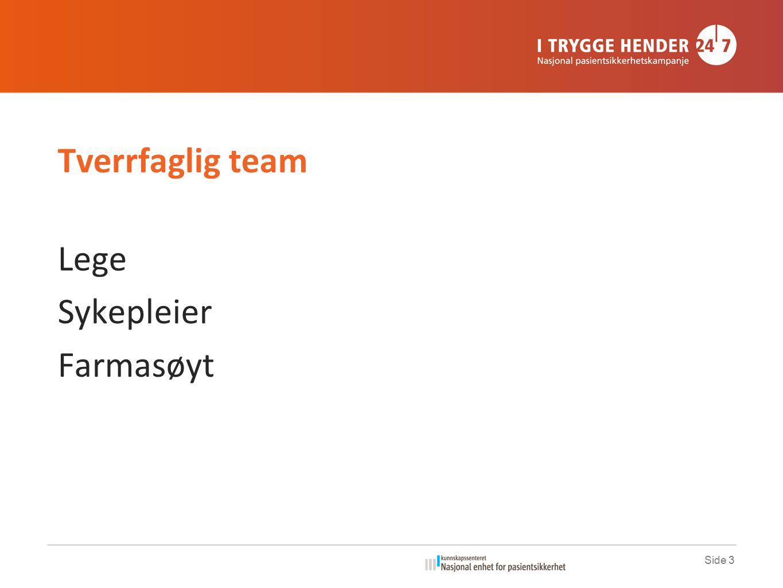 Side 3 Tverrfaglig team Lege Sykepleier Farmasøyt