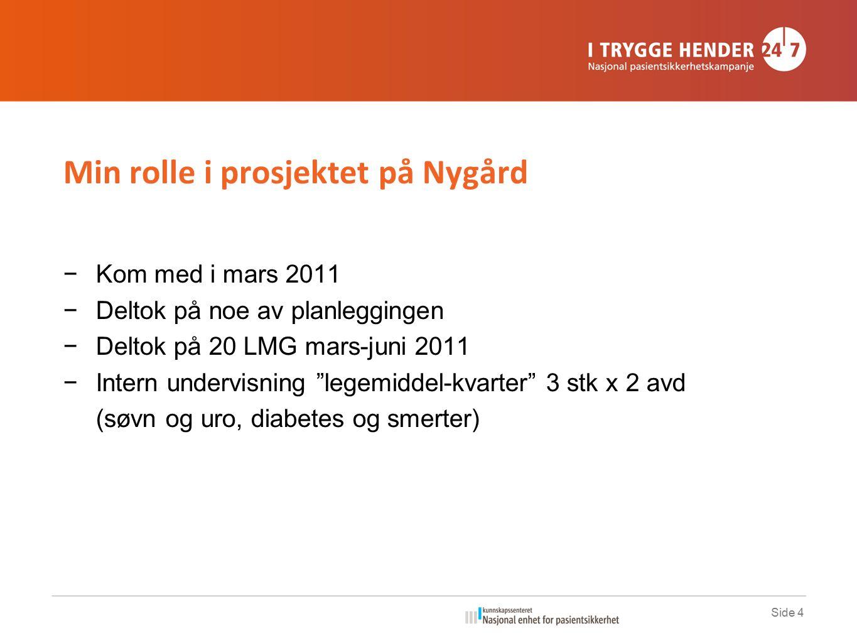 Side 4 Min rolle i prosjektet på Nygård −Kom med i mars 2011 −Deltok på noe av planleggingen −Deltok på 20 LMG mars-juni 2011 −Intern undervisning legemiddel-kvarter 3 stk x 2 avd (søvn og uro, diabetes og smerter)