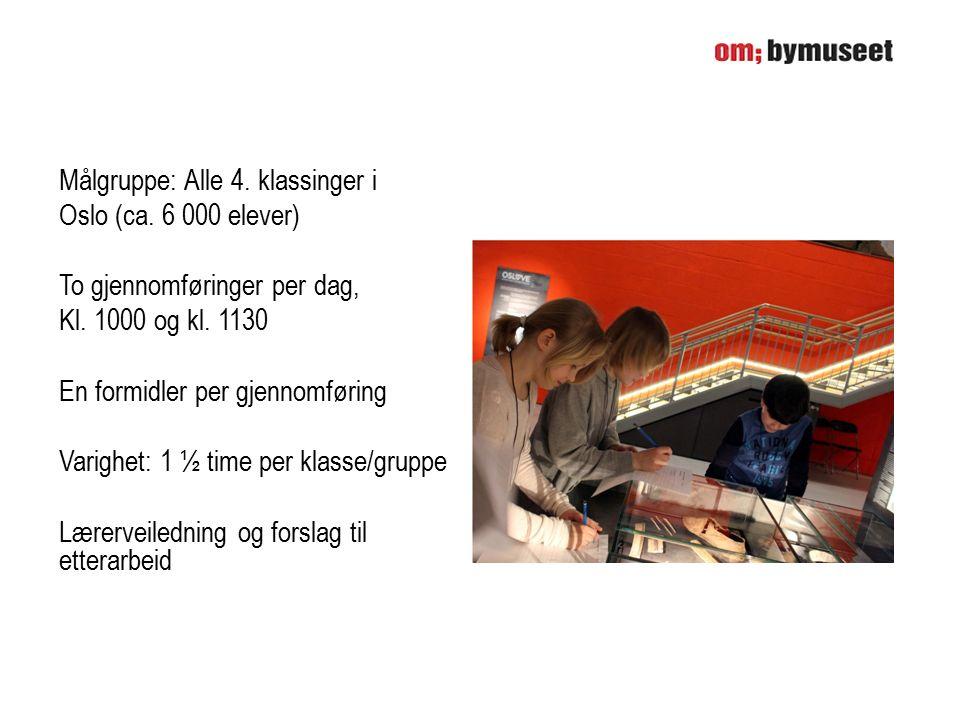 Målgruppe: Alle 4.klassinger i Oslo (ca. 6 000 elever) To gjennomføringer per dag, Kl.