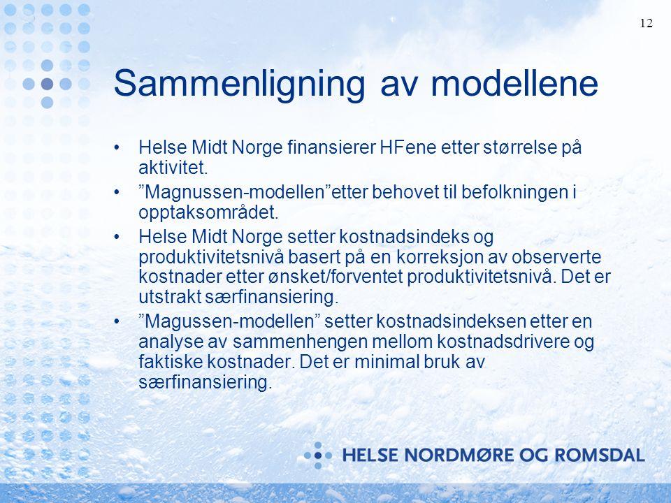 12 Sammenligning av modellene Helse Midt Norge finansierer HFene etter størrelse på aktivitet.