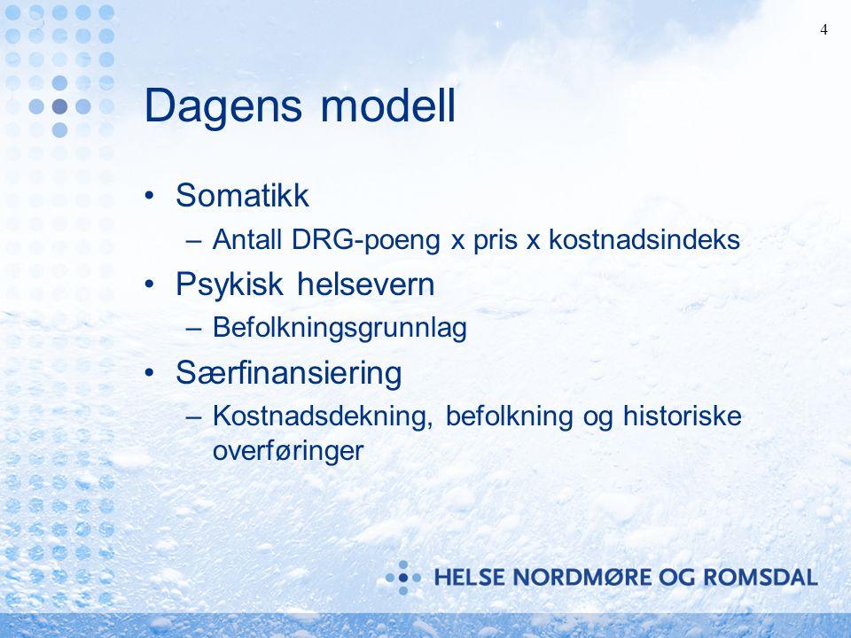 4 Dagens modell Somatikk –Antall DRG-poeng x pris x kostnadsindeks Psykisk helsevern –Befolkningsgrunnlag Særfinansiering –Kostnadsdekning, befolkning og historiske overføringer