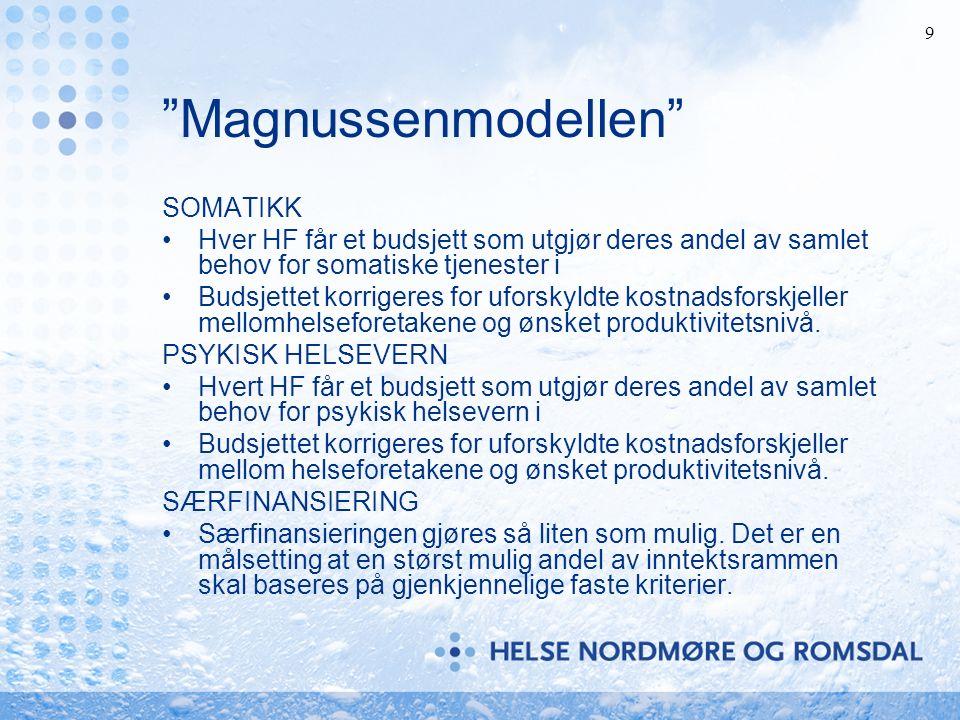 9 Magnussenmodellen SOMATIKK Hver HF får et budsjett som utgjør deres andel av samlet behov for somatiske tjenester i Budsjettet korrigeres for uforskyldte kostnadsforskjeller mellomhelseforetakene og ønsket produktivitetsnivå.