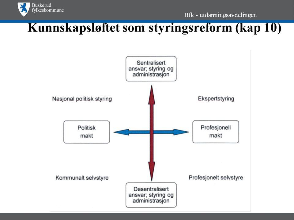 Kunnskapsløftet som styringsreform (kap 10) Bfk - utdanningsavdelingen