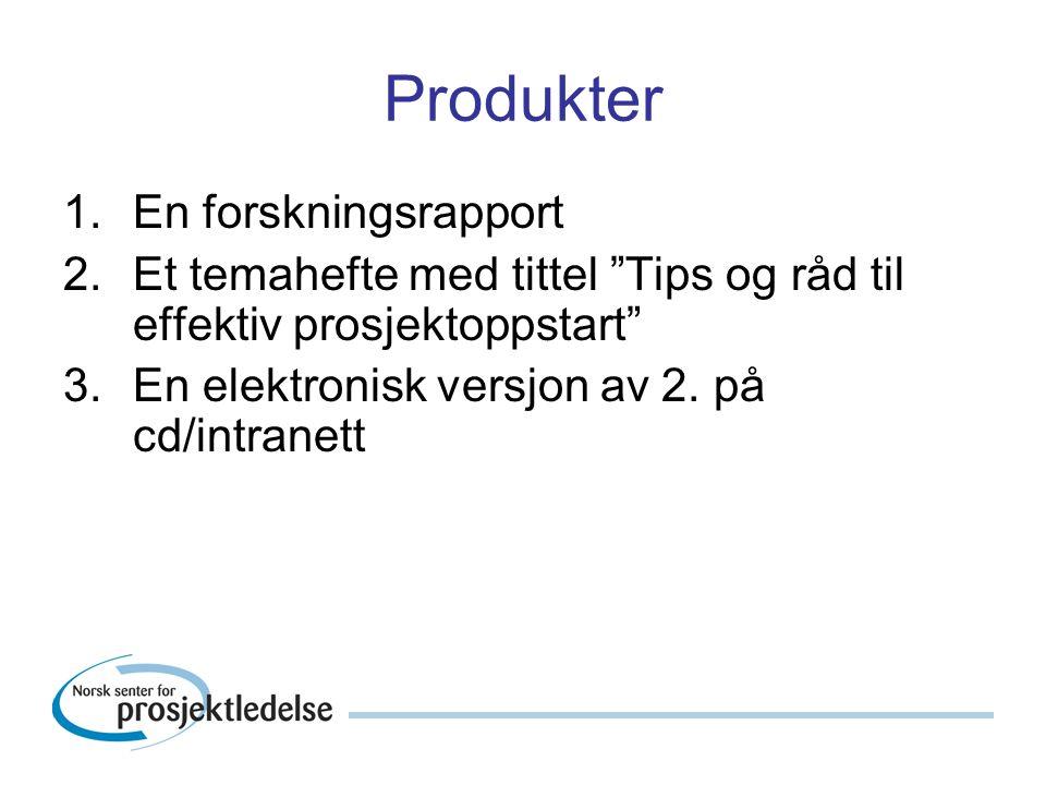 Produkter 1.En forskningsrapport 2.Et temahefte med tittel Tips og råd til effektiv prosjektoppstart 3.En elektronisk versjon av 2.