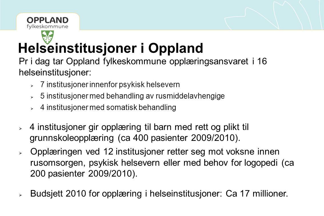 Helseinstitusjoner i Oppland Pr i dag tar Oppland fylkeskommune opplæringsansvaret i 16 helseinstitusjoner:  7 institusjoner innenfor psykisk helsevern  5 institusjoner med behandling av rusmiddelavhengige  4 institusjoner med somatisk behandling  4 institusjoner gir opplæring til barn med rett og plikt til grunnskoleopplæring (ca 400 pasienter 2009/2010).