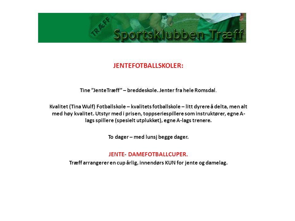 """JENTEFOTBALLSKOLER: Tine """"JenteTræff"""" – breddeskole. Jenter fra hele Romsdal. Kvalitet (Tina Wulf) Fotballskole – kvalitets fotballskole – litt dyrere"""