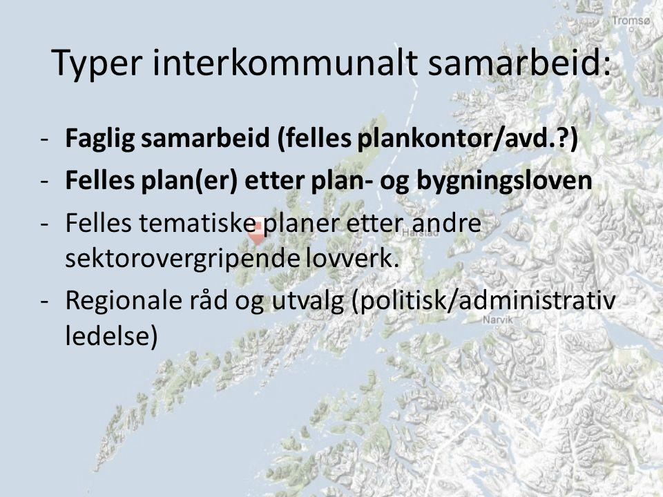 Typer interkommunalt samarbeid: -Faglig samarbeid (felles plankontor/avd. ) -Felles plan(er) etter plan- og bygningsloven -Felles tematiske planer etter andre sektorovergripende lovverk.