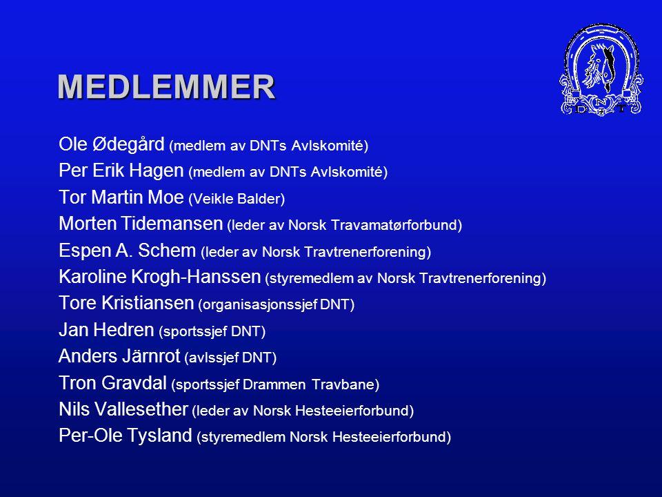 MEDLEMMER Ole Ødegård (medlem av DNTs Avlskomité) Per Erik Hagen (medlem av DNTs Avlskomité) Tor Martin Moe (Veikle Balder) Morten Tidemansen (leder av Norsk Travamatørforbund) Espen A.