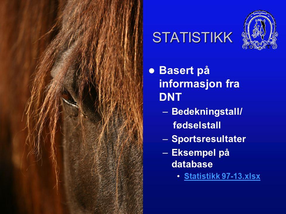STATISTIKK Basert på informasjon fra DNT –Bedekningstall/ fødselstall –Sportsresultater –Eksempel på database Statistikk 97-13.xlsx
