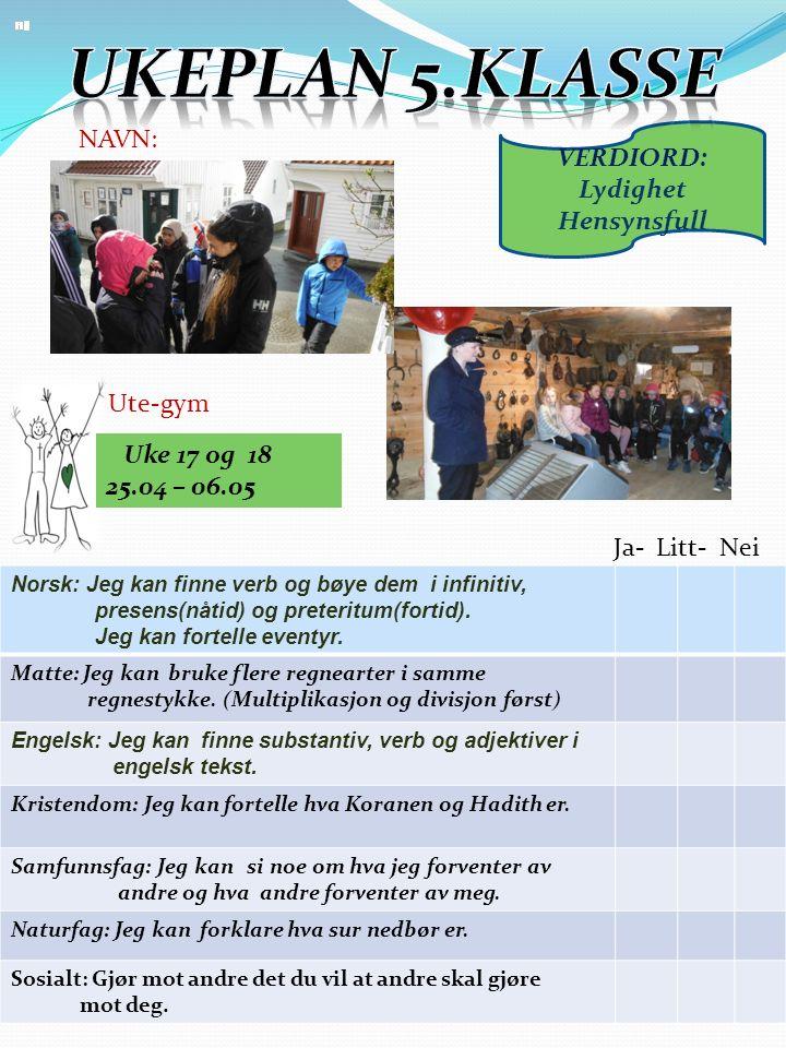 Uke 17 og 18 25.04 – 06.05 Norsk: Jeg kan finne verb og bøye dem i infinitiv, presens(nåtid) og preteritum(fortid).