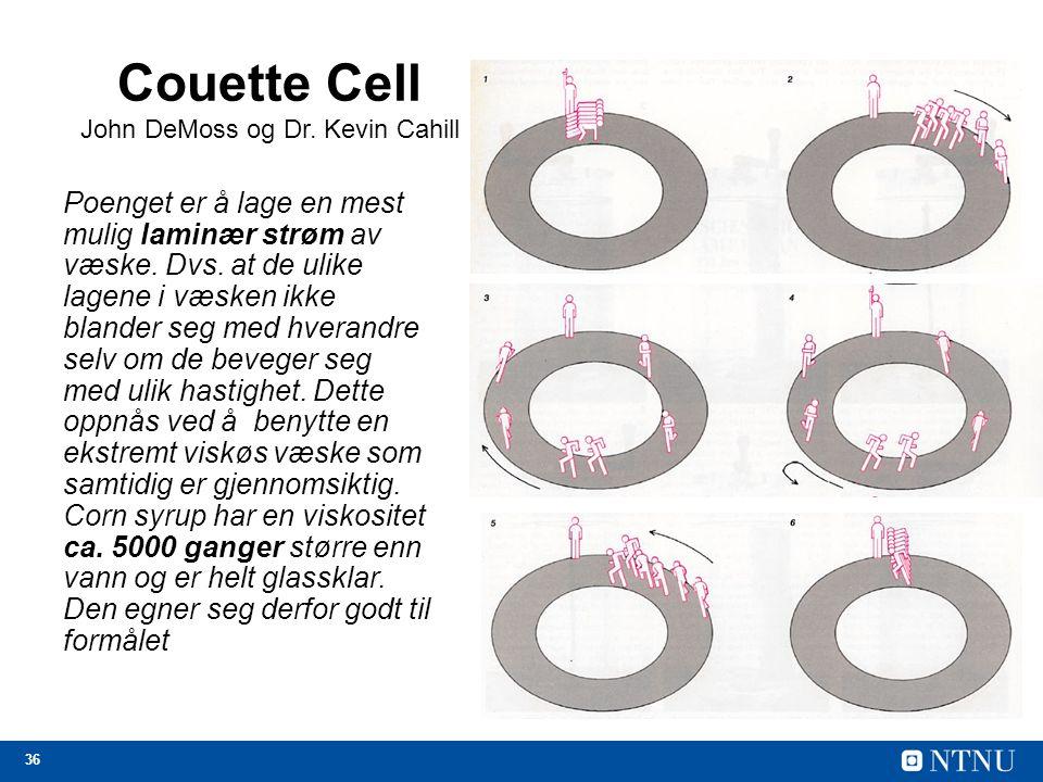 36 Couette Cell John DeMoss og Dr. Kevin Cahill Poenget er å lage en mest mulig laminær strøm av væske. Dvs. at de ulike lagene i væsken ikke blander