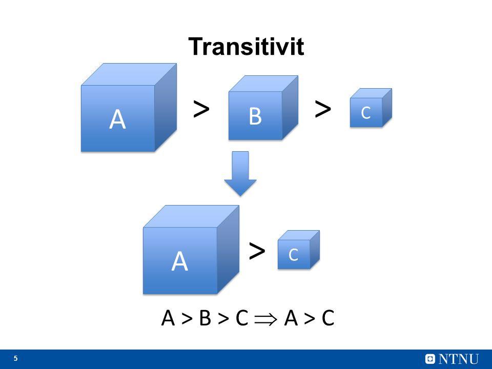 6 Ikke-transitivitet A > B > C… men C > A https://no.wikipedia.org/wiki/Ikketransitive_terninger Rød slår blå i 69 % av tilfellene Blå slår grønn i 58 % av tilfellene Grønn slår rød i 58 % av tilfellene