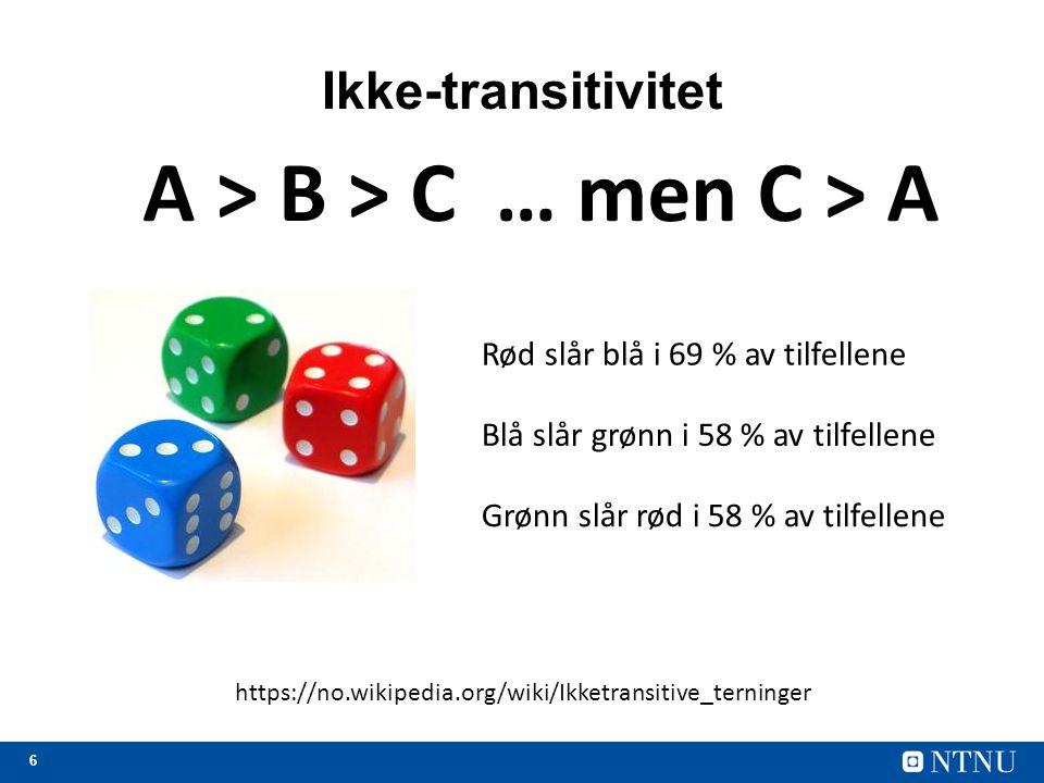 6 Ikke-transitivitet A > B > C… men C > A https://no.wikipedia.org/wiki/Ikketransitive_terninger Rød slår blå i 69 % av tilfellene Blå slår grønn i 58